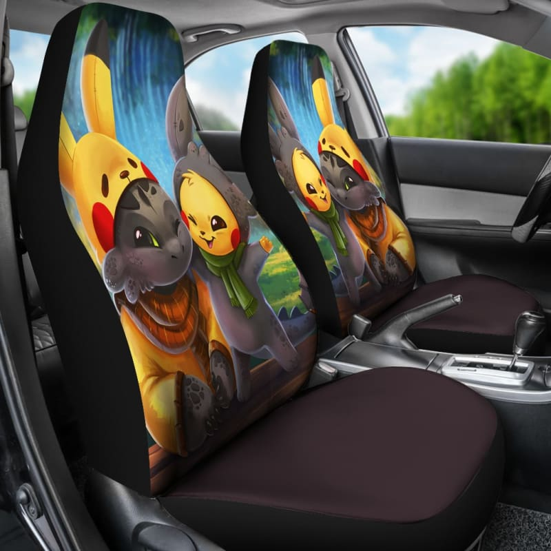 Toothless And Pikachu How To Train Your Dragon Car Seat Covers Gearkinda Free Shipping