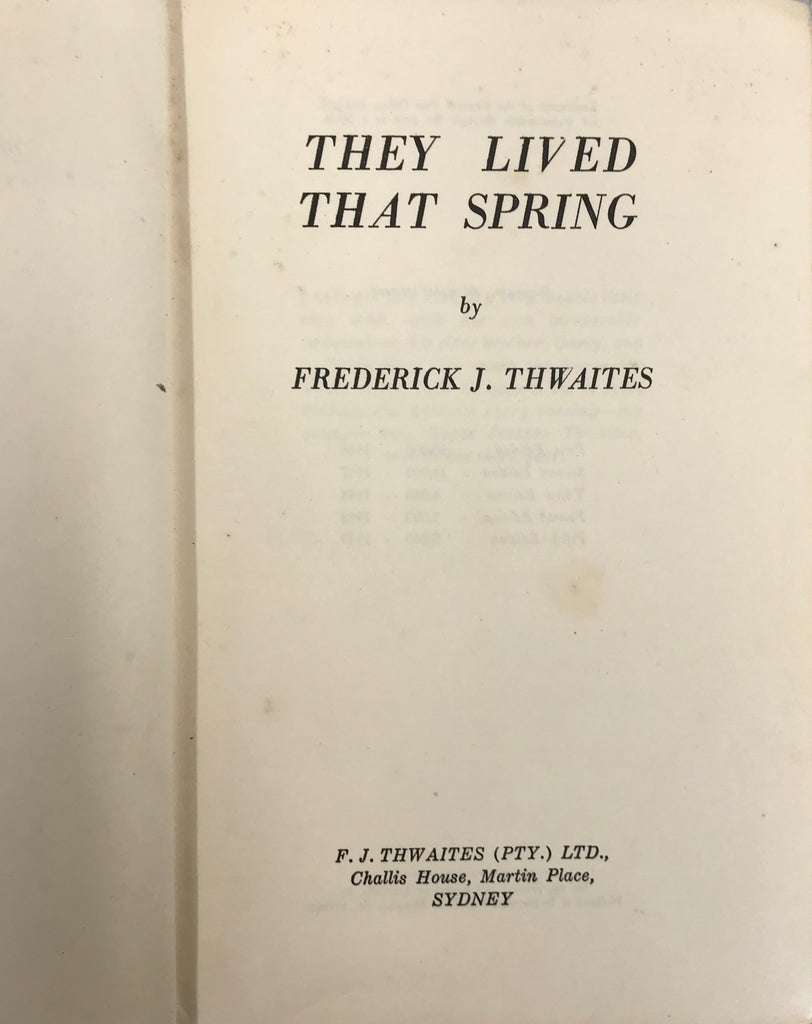 They Lived That Spring