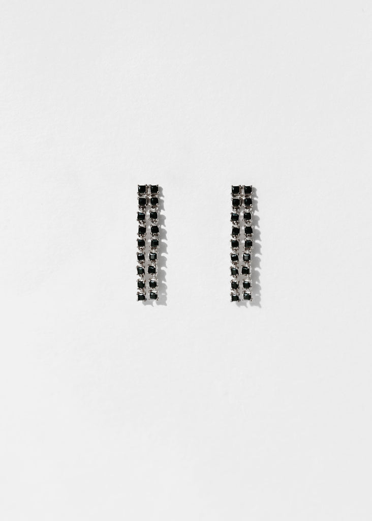 Mini Sparkle Earring, Black Onyx, Silver