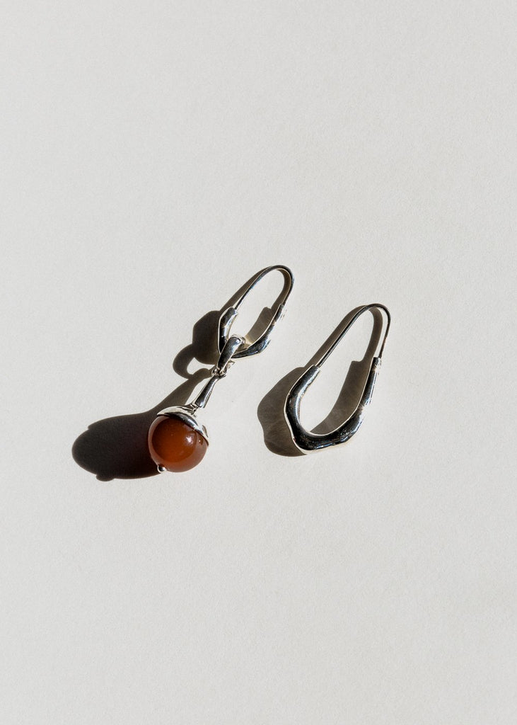 Lulu Earrings, Carnelian, Silver