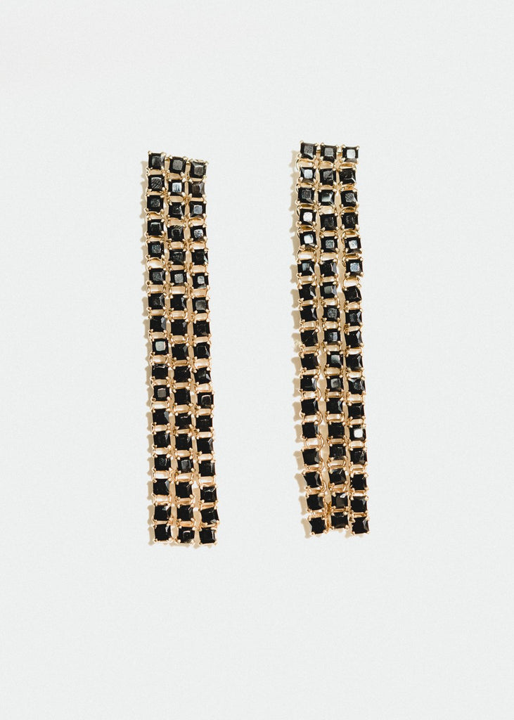 Sparkle Earrings, Black Onyx, Long, Gold