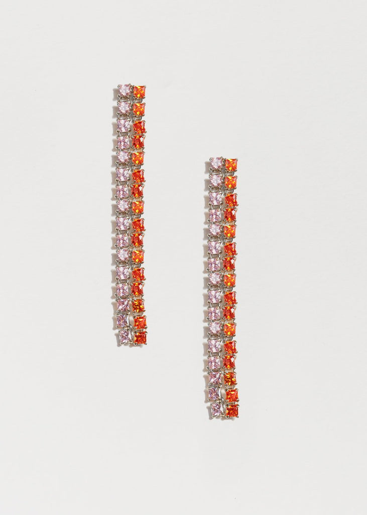 Peach Earrings, Long, Silver