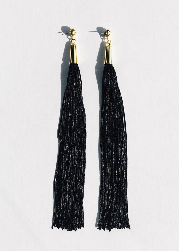 Black Tassel Earring, Gold