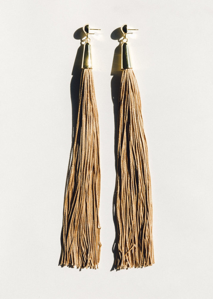 Beige Tassel Earrings, Gold
