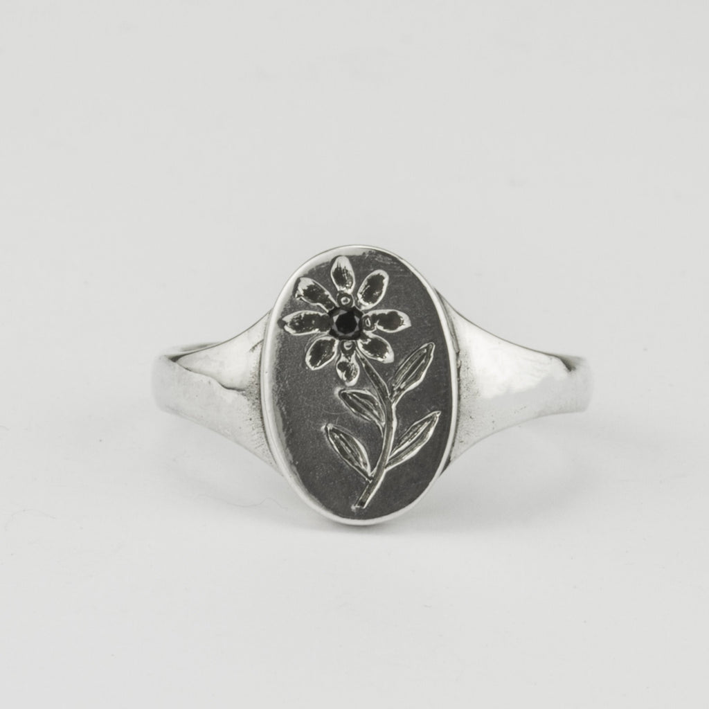 Engraved Flower and Black Diamond Signet