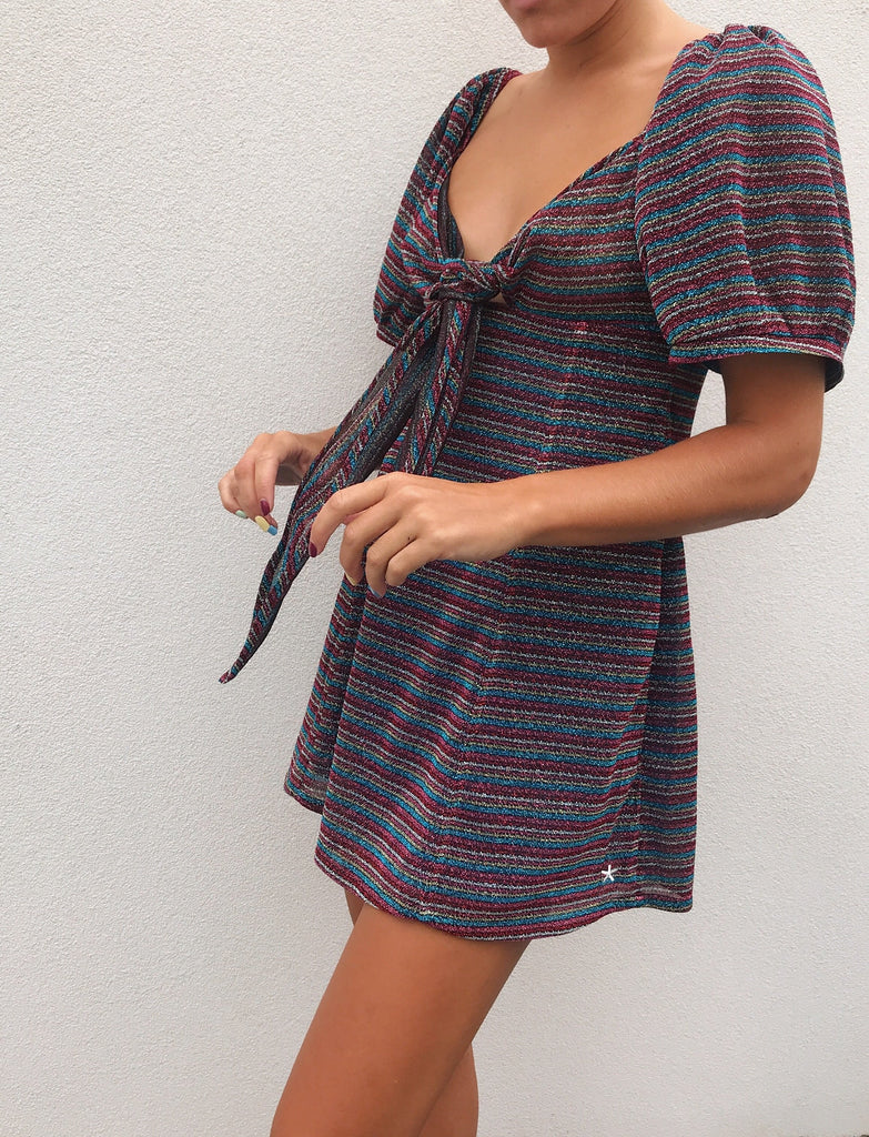 LUREX STRIPE BOW DRESS