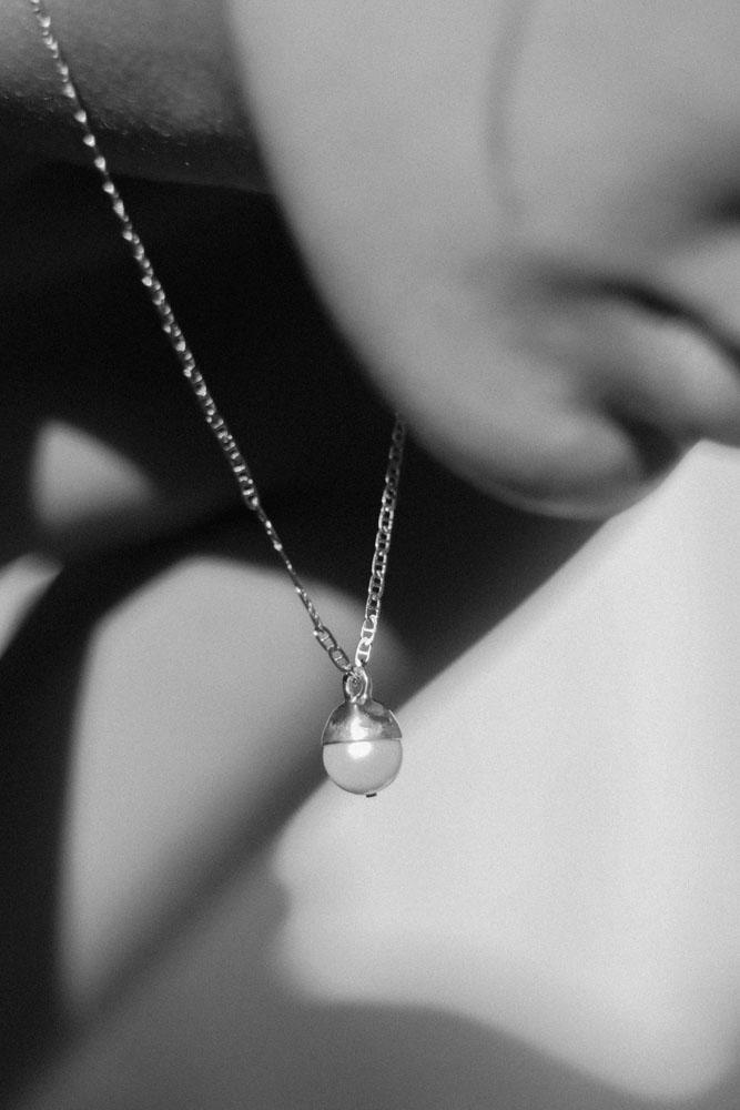 Pearl Drop Necklace, Silver