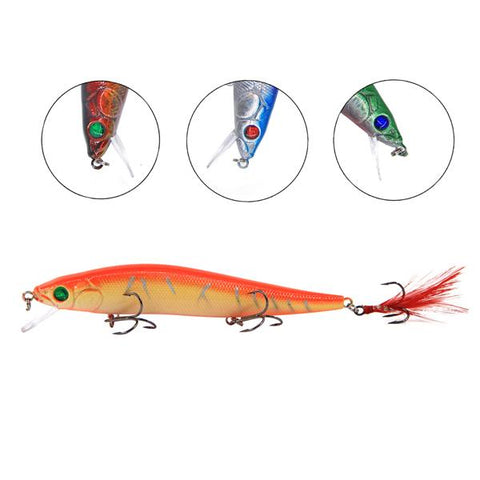 Minnow Wobblers With Feather Hooks Artificial Hard Fishing Lure