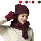 Warm Scarf Glove Hat Beanie Set - Cable Knit Winter Gift Set Pom Cap Touch Screen Glove Long Scarf 3 PCS Set for Women