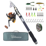 Telescopic Fishing Rod and Reel Combos Full Kit with Line Lures Hooks Swivel Snap Sinker Weights and Fishing Carrier Bag Case Accessories