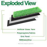 Artificial Grass Turf Mat Rubber Backed with Drainage Holes 1.77in Height