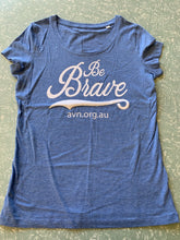 Women's 100% Cotton Organic Heather Blue T-Shirt Be Brave with AVN URL