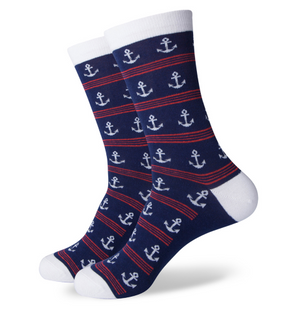 Striped Anchor Socks - Sock Mafia