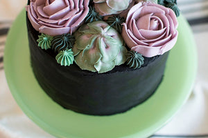 SUCCULENT CAKE WITH ULTIMATE NATURALLY COLOURFUL BLACK FROSTING