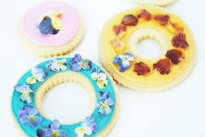 SHORTBREAD COOKIES WITH CANDIED FLOWERS AND HERBS