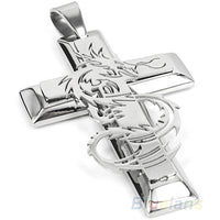 Bluelans Men's Silver Stainless Steel Dragon Cross Pendant Necklace Chain