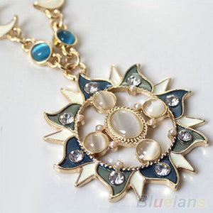 Women's Mystic Sun Moon Decoration Alloy Rhinestone Long Chain Pendant Necklace Jewelry  1U99