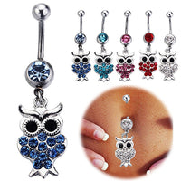 14G Sexy Rhinestone Owl Navel Belly Button Bar Barbell Ring Body Piercing
