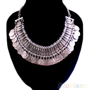 Women's Fashion Silver Coins Pendant Statement Bib Hot Charm Choker Necklace statement Necklaces 027X
