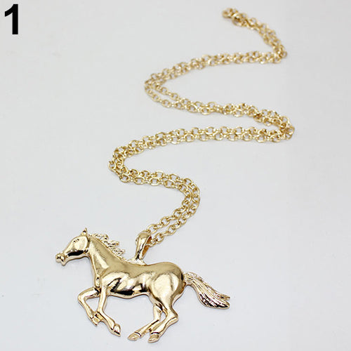 Women's Luxury Running Horse Pendant Long Sweater Chain Necklace Fashion Jewelry
