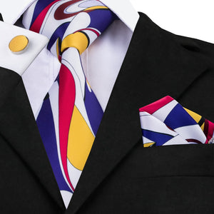 C-1230 Newest Design Print Neck Ties Handkerchief Cufflinks Print Mens Ties Set With Brand Hi-tie Gravatas Neckties For Men