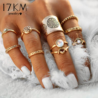17KM New 9 pcs/set Vintage Silver Color Ring Sets Antique Midi Finger Rings for Women Steampunk Turkish Party Boho Knuckle Ring