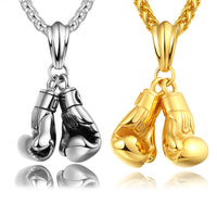 BRZHA Brand Men Necklace & Pendant Gold Colour Stainless Steel Chain Pair Boxing Glove Charm Fashion Sport Fitness Jewelry