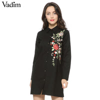 Women sweet floral embroidery long shirts long sleeve turn down collar loose blouse ladies fashion streetwear tops blusas LT1305