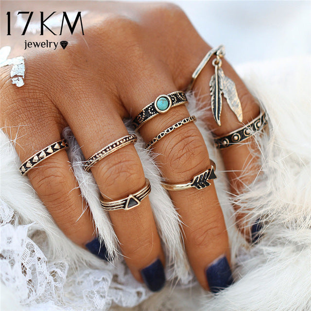 17KM Punk Style Leaf Ring Set New Retro Antique Gold Color Lucky Arrow Midi Rings for Women 8PCS/Lot Blue Stone Vintage Jewelry