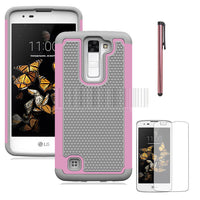 2 In 1 PC+Silicone Anti-shock Armor Case Dual Layer Impact Protective Cover With Screen Protector + Stylus For LG Escape 3