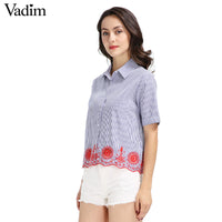 women hollow out embroidery striped shirts short sleeve loose wave vintage blue blouses casual floral brand tops blusas DT899