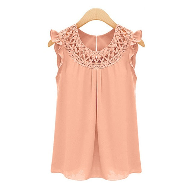 2017 Elegant Summer Sleeveless Blouses blusas Chiffon O-Neck Blouse Womens chemise femme Woman Clothes White vintage Shirt Tops