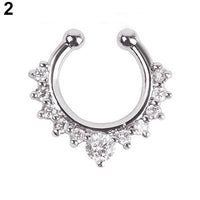 1Pc Fake Septum Clicker Nose Ring Rhinestone Non Piercing Hanger Clip On Jewelry  6WYH