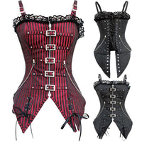 2016 New Fashion Striped Gothic Punk Steampunk Overbust Corset Waist Trainer Corsets And Bustiers S-XXL body Shaper