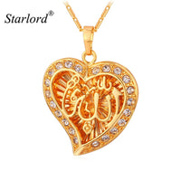 Starlord Allah Pendant Heart Fine Jewelry New Vintage Rhinestone Necklace Women Gold Color Muslim Islam Allah Necklace P910