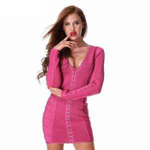 Bodycon Bandage Long Sleeve Button V-neck Dress