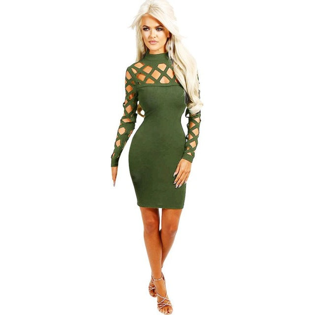 Choker High Neck Bodycon Hollow Out Long Sleeve Solid Mini Dress