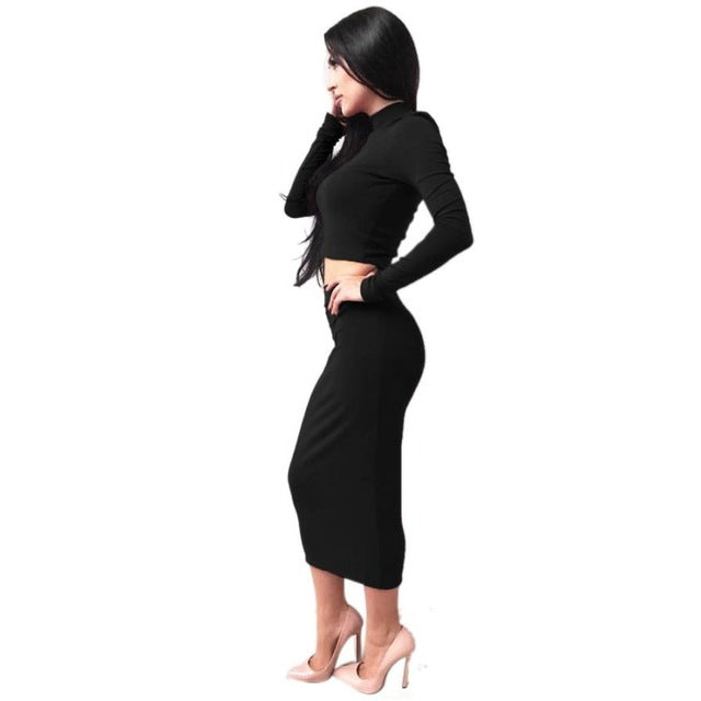 2 Piece's / 1Set Elegant Women Turtleneck Long Sleeve Party Dress