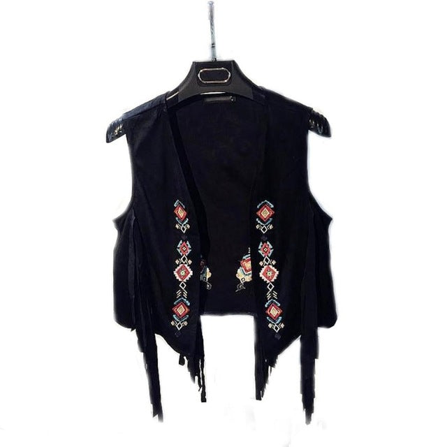 2016 New Fashion Women Boho Coat Chamois Embroidered Floral Tassel Sleeveless Open Stitch Short Outwear Coat Women