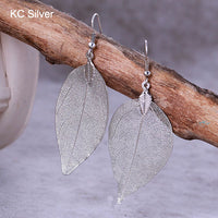 2017 Fashion Bohemian Long Earrings Unique Natural Real Leaf Big Earrings For Women Fine Jewelry Gift