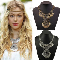 2017 New Fashion Bohemian style Jewelry for Women Double Chain Coin Statement Necklace necklaces pendants colares feminino
