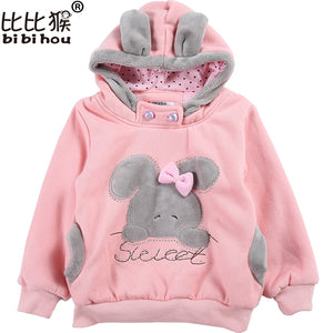 Kids Girls Jackets 2015 Children Clothing Cartoon Rabbit Fleece Outerwear Girls Clothes Hooded Jacket Winter Coat Roupa Infantil