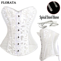 12 Spiral Steel Boned Black White Corset Steampunk Mujer Overbust  Gothic Bustiers With G-string S-2XL Wedding&Party