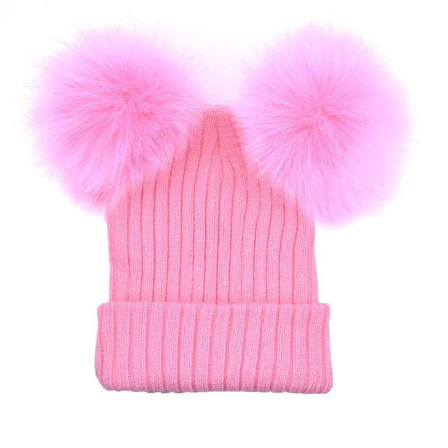 1PC Cute Winter Women Crochet Knitted Hats Skull Caps Ladies Knitting wool cap double fur ball cap#LREW