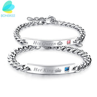 Boniskiss Words Beauty/Queen/Prince Stainless Steel Bangle Bracelet For Women & Men Fashion Jewelry Lover Couple Bracelets Gift