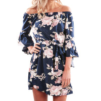 2017 New Women Summer Off Shoulder Floral Short Mini Dress   Ladies Beach Party Dresses XL wholesale#ES