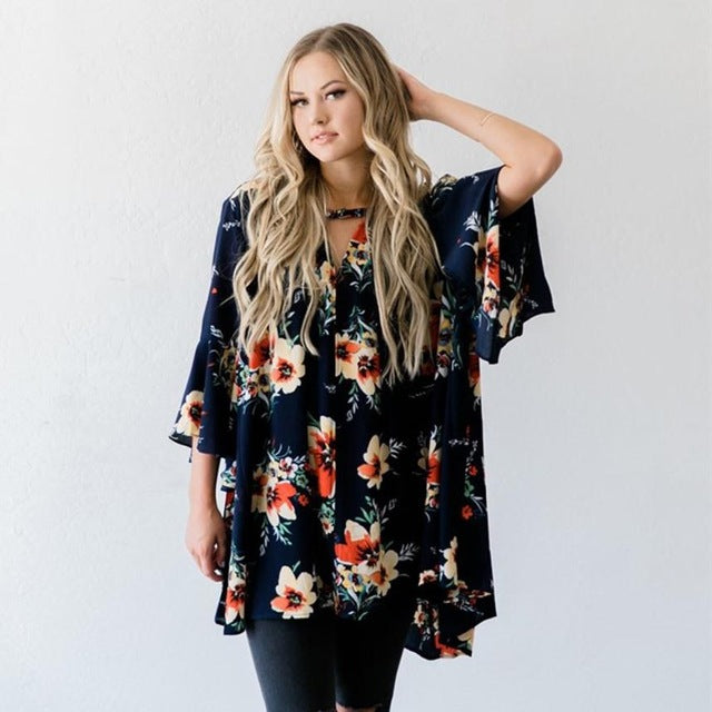 2017 Fashion Women Loose Casual Big Size Women Tops V Neck Long Flare Sleeve Floral Print Womens Blouse camisas mujer #821