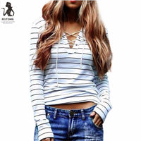 Women Stripe Long Sleeve V neck Casual Crop Tops Shirt Blouse Camisas Femininas Manga Longa 2017 Cheap Clothes China f3