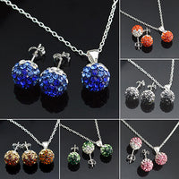 Bluelans Womens Silver Plated Gradual Crystal Ball Pendant Necklace Earrings Set