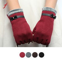 Feitong Fashion Elegant Womens Screen Winter Warm Wrist Gloves Mittens Cashmere Bow Full Finger Top Quality